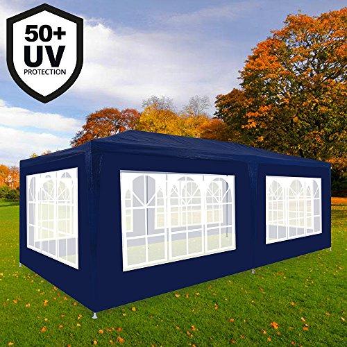 Deuba Festzelt Rimini 3x6m Blau   18m² Pavillon mit aufrollbaren 6 Seitenwänden   18 Rundbogenfenster   Wasserabweisend   UV-Schutz 50 +   Farbauswahl
