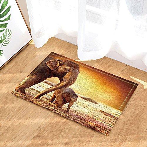 cdhbh Safari Afrikanische Tiere Decor Wild Mutter Elefant und Baby Walking Bad Teppiche rutschhemmend Fußmatte Boden Eingänge Innen vorne Fußmatte Kinder Badematte 39,9x 59,9cm Badezimmer Zubehör - Wilden Salbei