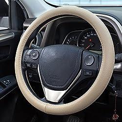 Fms Leder Lenkradhülle 37-38 Cm Universal Lenkradabdeckung Auto Lenkradbezug, Langlebig, Atmungsaktiv, Anti-rutsch, Geruchlos (Beige)