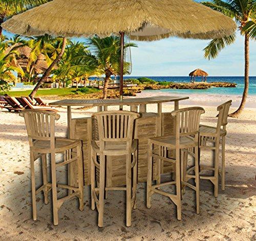 Original Teakholz Gartenmöbelset 5tlg, Farbe natur, Teakholzbar mit vier passenden Barhockern, vorbehandeltes zertifiziertes Teakholz aus Indonesien, Trendyshop365 -