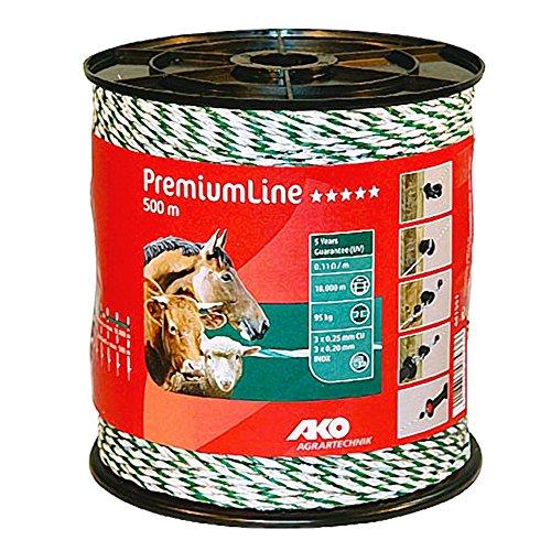 500 m Premium Weidezaunlitze grün-weiss Elektrozaun Bruchlast 95 kg -