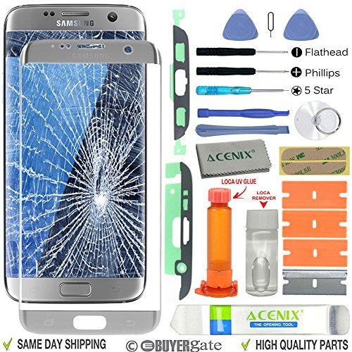 ACENIX Universal Reparaturset Ersatz Bildschirm Front Glas Objektiv Reparatur Kit Silber für Samsung Galaxy S7Edge + UV-Klebstoff und Öffnung Pry Tools