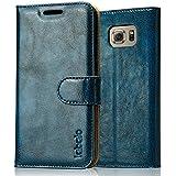 Samsung Galaxy S6 Hülle,Samsung Galaxy S6 Leder Handy Tasche Case Flip Cover Etui,Labato® WEICH Leicht Aufstellfunktion Visitenkartenfach SchutzhülleLedertasche Lederhülle Handyhülle Handytasche Hüllen für Samsung Galaxy S6 blau Lbt-SM6-01Z46