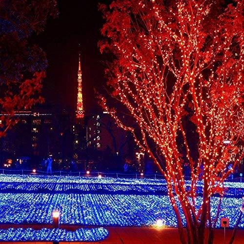 (Lichter Lichterkette, TIREOW 20M 200LED Fenstervorhang Lichter, Dekoration für Weihnachten, Hochzeit, Party, Geburtstag, Haus, Garten, Wohnzimmer, Terrasse Rasen (Rot))