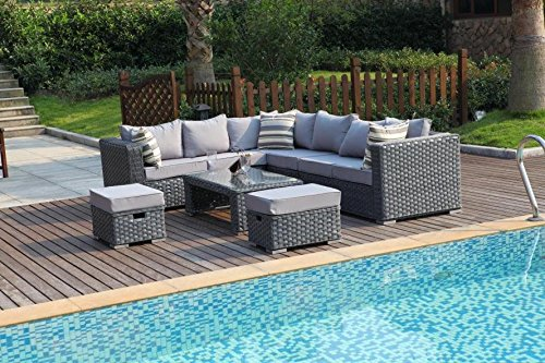 YAKOE 50020 Papaver Conservatory Modular 9 Seater Rattan Corner Garden Sofa Furniture Set – Grey