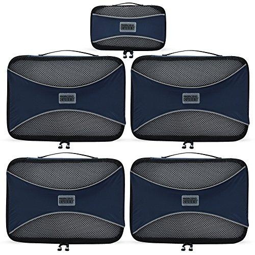 PRO Packing Cubes Packtaschen, Reise Kleidertaschen, Packwürfel, Reisetasche in Koffer, Koffertasche, Wäschebeutel, Schuhbeutel, Ultra-leichte Aufbewahrungstasche, 5-teiliges Set (Marine)