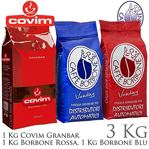 Covim - borbone 3 kg caffè in grani misti, granbar, blu, rossa