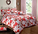 Home Bedding Store Red Patchwork Bedding Duvet Cover Set, Double Bed Hearts