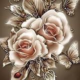 sunshineBoby Jahrgang Rose DIY-Malset,komplett gebohrt,Malerei Blume DIY Stickerei Painting Kreuz Stich Diamond Dekoration,5D Stickerei Gemälde Strass eingefügt DIY Diamant Malerei Kreuzstich (Mehrfarbig E, 25X25cm)