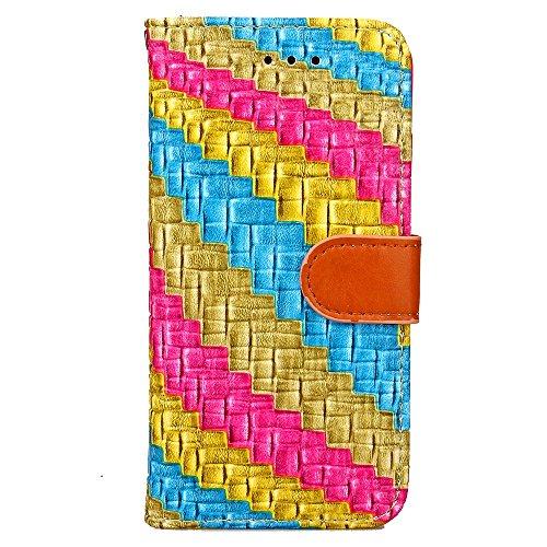 iPhone Case Cover Étui pour iPhone 7, couleur mixte Étui en cuir PU Flip Stand Wallet Case avec carte Cash Slot Rainbow Case Case motif pour Apple iPhone 7 ( Color : Yellow , Size : IPhone 7 ) Yellow