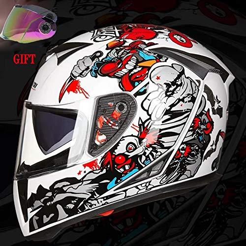 TANMIN Doppia Sun Visor Casco Moto con Antipioggia di Gomma Striscia Estrattori Prese d'Aria (Libero in più Colore Visiera) Motorino del Motociclo del Casco-Personalized Stampa A Colori,XXL