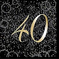 Unique Party Paquete de 16 servilletas de Papel de 40 cumpleaños, Color Dorado metálico Brillante (57491)