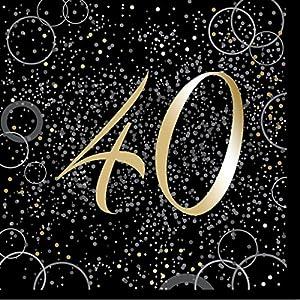 Unique Party- Paquete de 16 servilletas de papel de 40 cumpleaños, Color dorado metálico brillante (57491)