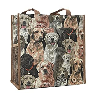 Signare Tapestry Women Shopping Shoulder Tote Bag Labrador Dog (SHOP-LAB)