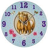Bezaubernde Wanduhr für das Kinderzimmer / Kinderwanduhr / Kinderuhr aus Glas mit wundervollem Pferde - Motiv in rosa - Größe ca. 30 cm Durchmesser - ein MUSS für alle Pferdeliebhaber - NEU im KAMACA - SHOP (Süsse Fohlen)
