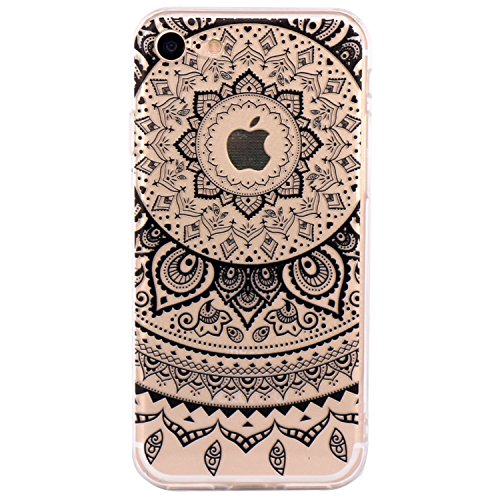 iPhone 6 Case, Walmark Beautiful Clear TPU Soft Case Rubber Silicone Skin Cover for iPhone 6 4.7 inch inch - Black Circle Flower Tribal Mandala