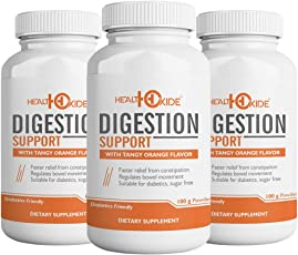 HealthOxide Digestion Support - Aloe Vera Extract + Psyllium Husk Supports Healthy Digestion – 100 g powder (Orange Flavor) (PACK OF 3)