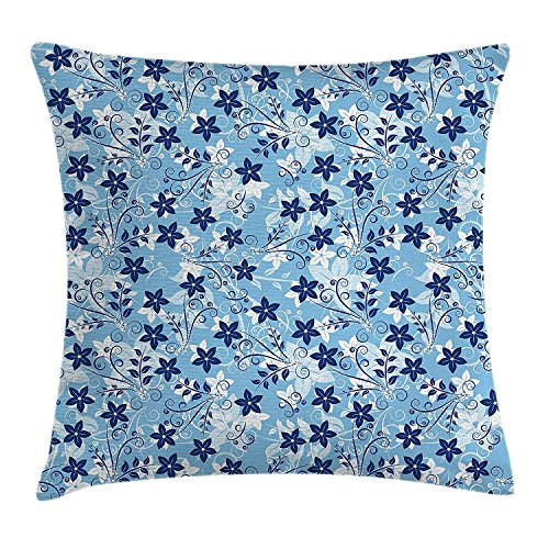 low Cushion Cover, Flowers Floral Pattern with Swirls Ivy Leaf Abstract Artwork Image, Decorative Square Accent Pillow Case, 18 X 18 Inches, Blue Sky Blue and White ()