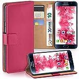 moex Samsung Galaxy S6 | Hülle Pink mit Karten-Fach 360° Book Klapp-Hülle Handytasche Kunst-Leder Handyhülle für Samsung Galaxy S6 Case Flip Cover Schutzhülle Tasche