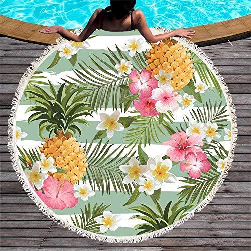 Drucken Strandtuch (GOLDT1 Teppich, Kaktus Runde Strandtuch drucken Ananas Fitness Yoga Decke Mauspad, gesäumt Picknick Mikrofasermatte 150 cm (Color : 4, Size : 150CM))