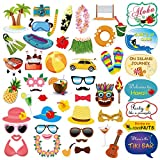 Konsait Fotorequisiten & Fotoaccessoires Hawaii Luau Sommerfest Hochzeit Geburtstag Party Foto Booth Hüte Brillen Masken Party Zubehör mit Stöcken (53pcs)