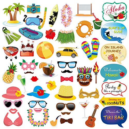 Konsait Hawaii DIY Photo Booth Atrezzo Favorecer cabina de fotos accesorios Photocall máscaras Gafas en Palos para decoraciones de Fiesta, boda, cumpleaños Playa (53Count)