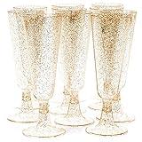 Matana 50 Copas Flautas de Champán de Plástico, Vasos Desechables de 5 oz (150 ml) - Brillo Dorado -...