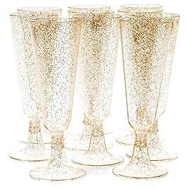 50 Flute da Champagne Plastica Eleganti, 150 ml con Glitter Dorati Pratici e Resistenti – Multiuso Riutilizzabile…