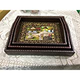 SAARTHI Rajasthani Antique Colourful Multipurpose Unique Decorative Traditional Wooden Handmade Vilage Scene Serving Tray With Curved Handles Decorative Platter | Dry Fruit Box| Home | Table| Room Decor Showpiece| Figurine-Set Of 3
