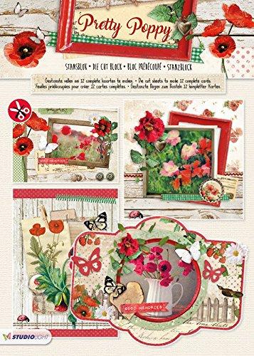 Pretty Poppy - 3D Stanzblock - 21 x 29,7 cm - Zur Gestaltung von 12 Karten