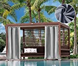 UniEco Outdoor Vorhang Raffgardinen mit Schlaufen Gartenlauben Balkon-Vorhänge Verdunkelungsvorhänge Wasserdicht Mehltau beständig für Pavillon Strandhaus, 1 Stück,132x215cm,Grau