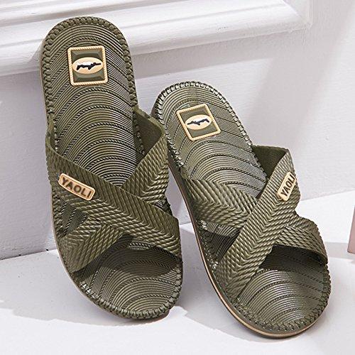 Y-Hui bagno pantofole, uomini Estate Mobili per interni, plastica antiscivolo pavimento del bagno, Casa Cool pantofole fondo morbido Army green