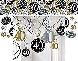 Feste Feiern Geburtstagsdeko Zum 40. Geburtstag I 13 Teile All-In-One Set Spirale Deckenhänger Konfetti Gold Schwarz Silber Party Deko Happy Birthday