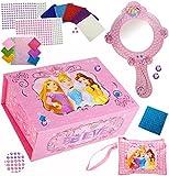 Unbekannt Bastelset _ XL Schmuckkasten / Schatzkiste & Spiegel -  Disney Princess - Prinzessin  - & Schminktasche - Schmuckset mit Mosaiksteinen / Sticker Aufkleber -..