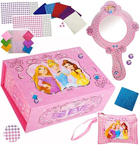 alles-meine.de GmbH Bastelset _ XL Schmuckkasten / Schatzkiste & Spiegel -  Disney Princess - Prinzessin  - & Schminktasche - Schmuckset mit Mosaiksteinen / Sticker Aufkleber -.. (Princess Belle-schmuck Disney)