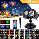 2019 Neujahr LED Projektor Lampe, 16 Folien, ALED LIGHT Wasserwelle&Gobos Licht Projektion, Wasserdichte Außenbeleuchtung Weihnachten Licht Projektor mit Fernbedienung, Dekoration Party Urlaub Haus