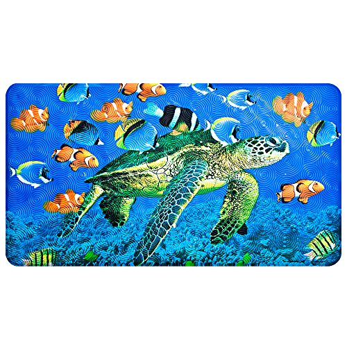 Non-Slip Bath Mat - YoLife Shower Mat Bathroom Anti Slip Mat Antibacterial Plus Reinforced Suction Cups (turtle)