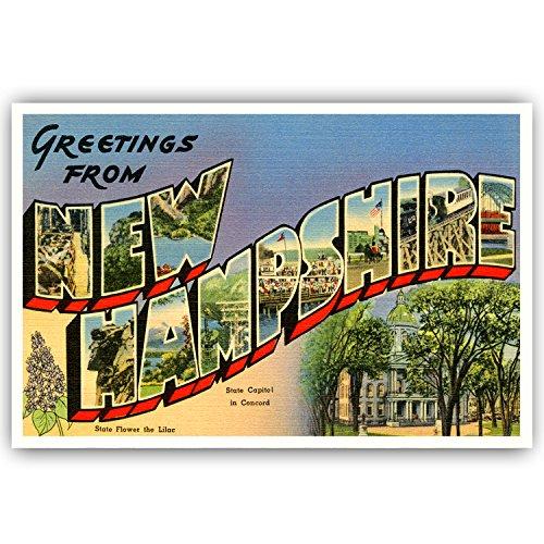 Grüße aus New Hampshire Vintage Nachdruck-Postkarten-Set von 20identische Postkarten. Groß US State Name Post Card Pack (ca. 1930's-1940's). Hergestellt in den USA. (Vintage Post Card)