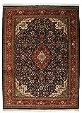 Nain Trading Indo Täbriz Royal 395x296 Orientteppich Teppich Dunkelgrau/Dunkelbraun Handgeknüpft Indien