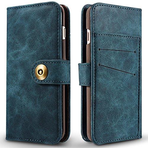 Retro Style abnehmbare magnetische Leder Tasche mit großem Capard Card Cash Slots und Secure Niet Gürtelschnalle für iPhone 6 und 6s ( Color : Red ) Blue