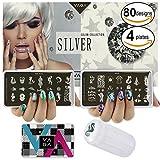 VAGA Nail Art Werkzeug Set mit Metall Stamping Schablonen, Stempel und Nagellack Scrapers für Maniküre und Designs Transfers