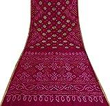 Vintage Indische reine Seide Magenta Bandhani Saree