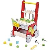 mamabrum Trotteur bébé Chariot de Marche 2 en 1 Etabli Enfant Atelier de Bricolage à Roulette - 34 Pièces Accessoires Table d