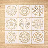 Yeldou 9 Pack Mandala Dotting Stencils Reusable Template - Different Patterns Dot Painting Templates Art Tools for DIY Rocks Stone Wall Art,Canvas,Wood Furniture Painting (13x13cm)