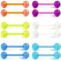 Funseedrr 6 Coppie Piercing Lingua Plastica 14G 12/14/16/18mm Flessibile Piercing Capezzolo Barretta