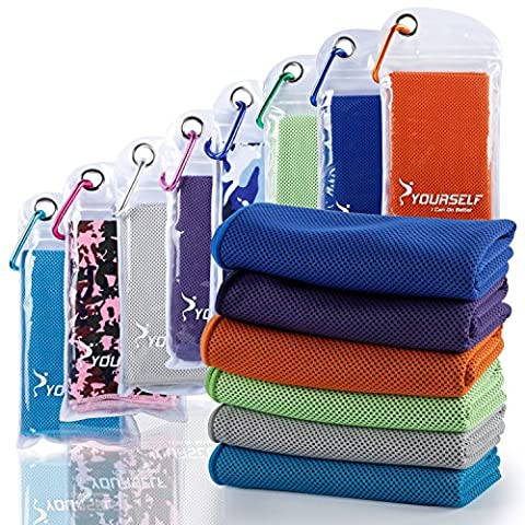 Syourself Cooling Towel for Instant Relief - Cool Bowling Fitness Yoga Towels -100cm x 30cm Use as Cooling Neck Headband Scarf Stay Cool for Travel Camping Golf Football &Outdoor Sports(E