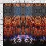 Soimoi Orange Seide Stoff Eule Platte Stoff Meterware 42