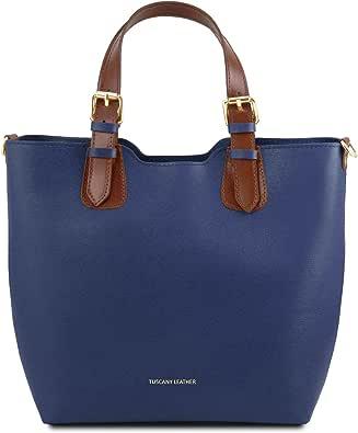 Tuscany Leather TLBag Borsa shopping in pelle Saffiano