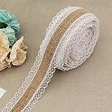 Pengnuo Juteband Ribbon Roll weißer Spitze 10 Yards, natürliche Jute Roll, Sackleinen Lace Ribbon für handgemachte Hochzeit Dekorationen, Nähen, Hair Bow Making(Stil 4)