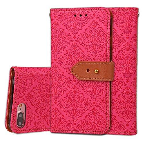 IPhone 7 Plus Case, Europäische Retro Style Wandbilder Pattern Buckle Flip PU Leder Brieftasche Etui Für IPhone 7 Plus ( Color : Rose ) Rose